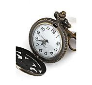 Classic Round Shape Quartz One Piece Mark Hollow Metal Peel Necklace Restoring Ancient Necklace Watch(Bronze)(1Pc)