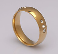 Fashion Six Diamond Ring  Stainless Steel Band Rings
