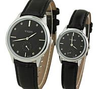 vestido de marca de luxo relógios de pulso de quartzo de banda de couro do casal