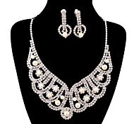 Fashion Long Drop Fully Rhinestone Silver Copper Jewelry Set 19