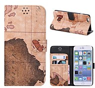 World Map Pattern Leather Case with Holder and Card Slots, Random Delivery