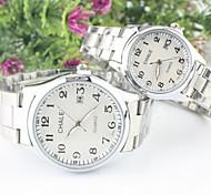 Couple's Casual Dial Alloy  Band Quartz Calendar Wrist Watch