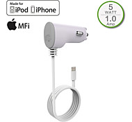 HXINH MFi Certified Captive Lightning wire 1A In Car Charger for iPhone 6/Plus,iPhone 5/5s/5c, iPad mini/2/3,Touch5