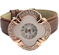 Frauenblumendiamantzifferblatt Quarz-Mode Uhr