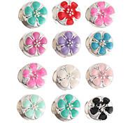 diy Perlen Metall candy Farbe Blume runde Form Perlen mit großem Loch 5pcs (gelegentliche Farbe)