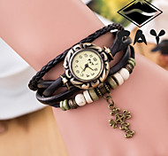 Women's Round Dial Faux Leather Hand Woven Band Quartz Analog Fashion Watch(Assorted Color) Cool Watches Unique Watches