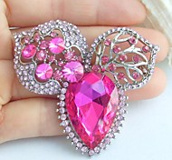 2.36 Inch Silver-tone Pink Rhinestone Crystal Flower Brooch Pendant Art Decorations