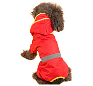 Red/Green/Yellow/Orange Waterproof Mixed Material Rain Coat For Dogs