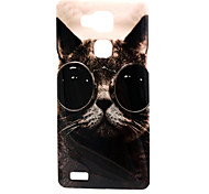 Glasses Cat Pattern TPU Material Phone Case for Huawei Mate 7