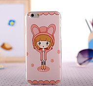 Rabbit Gril Painting Ultrathin TPU with Plastic for iPhone 6