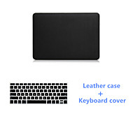 Luxury Black Leather Full Body Case and Black Keyboard Cover for Macbook Pro 15.4 inch (Assorted Colors)