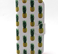 LEXY® White Pineapple Pattern PU Full Body Leather Case with Screen Protector and Stylus for iPhone 5C