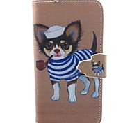 Small Dog Pattern PU Leather Case with Card Slot and Stand for Galaxy A3/A5