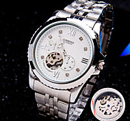 Men's Round Rome Number Diamond Dial Mineral Glass Mirror Stainless Steel Band Fashion Mechanical Waterproof Watch
