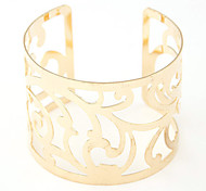European Style Fashion Hollow Metal Wild Flower Wide Cuff Bracelets