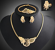Lucky Doll Women's Vintage 18K Gold Plated Zirconia Flower Necklace & Earrings & Bracelet & Ring Jewelry Sets