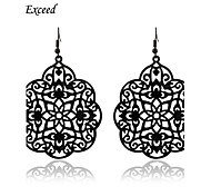 D Exceed  New Personlity Black Hollow Out carving Big Drop Earring for Women