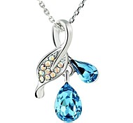 European Style Fashion Leaf Light Crystal Necklace