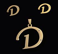 letra d moda europea y americana a las letras colgante y oído espárragos set (sin collar)