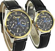 Couple's Classic Dial Business Leather Band Calendar Japanese Quartz Analog Wrist Watch