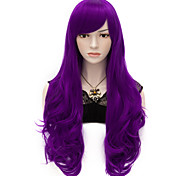 70 centímetros de comprimento ondulado partido mulheres anime cosplay senhora sexy wig harajuku perucas longo partido roxo