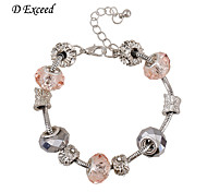D Exceed New DIY Beaded Bracelet with Pink Glass Bead European Style Jewelry for Women