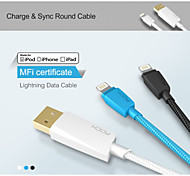 ROCK Charge & Sync round Cable (Braided lightning cable) It has  MFi certificate