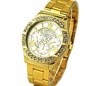 banda quartzo liga mostrador redondo de ouro relógio de pulso analógico dos homens