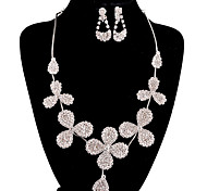 Fashion Long Drop Fully Rhinestone Silver Copper Jewelry Set 6