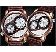 EYkI® Dual Time Zone Display Genuine Leather Men Watches Quartz Watch Waterproof Sport Wristwatch(Assorted Colors)