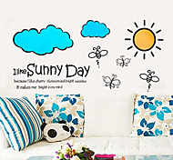 Cartoon Bees Cloud Sunny Day PVC Wall Sticker Wall Decals