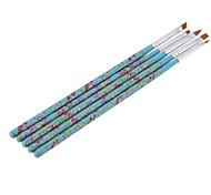 5PCS Nail Art Wood UV Gel Salon Pen Flat Brush Kit Dotting Tool