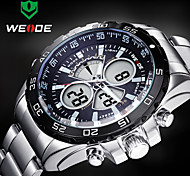 WEIDE Men Sporty Analog Digital Watch Stainless Steel Stopwatch/Alarm/Backlight/Waterproof