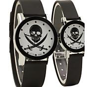 style de causalité cadran rond en caoutchouc noir montre-bracelet à quartz bande du couple