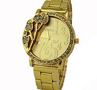 Women's Diamond Gold Flower Dial Gold Band Quartz Wrist Watch