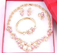 moda línea de corazón romántico chapado en oro (incluyendo el collar, pendientes, pulsera, anillo) sistemas de la joyería