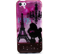 Romantic Tower Pattern Glitter TPU Cell Phone Soft Shell For iPhone 5C