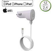 HXINH MFi certified Captive Lightning wire 2.4A In Car Charger for iPhone 6 6s plus 5 5s 5c, iPad 4 Air/2 mini/2/3
