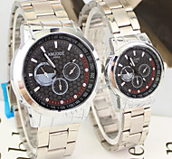 Couple's Business Style Silver Alloy Quartz Wrist Watch Cool Watches Unique Watches