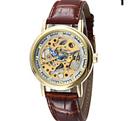 Men's Round Alloy Dial Leather Strap Mechanical Hand Wind Waterproof Watch(Assorted Colors)