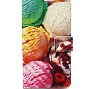 Ice Cream Ball Pattern PU Leather Material Card Full Body Case for Nokia 640