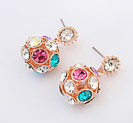 European Style Fashion Shiny Rhinestone Ball Earrings