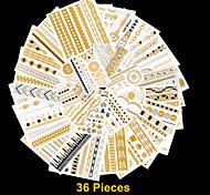 36PCS Flash Tattoo Gold Tattoo Flash Taty Metallic Tattoo Metal Tatouage Temporary Tattoo Sticker+ 3PCS Colorful Tattoos