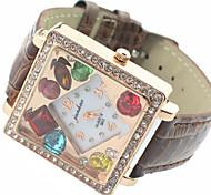 relógio de forma diamante quadrado de luxo de marcação das mulheres