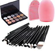20pcs Makeup Brushes Set Eyeshadow Eyeliner Lip Brush Tool+15Colors Shimmer Eyeshadow Palette+1PCS Brush Cleaning Tool