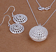 Lucky Doll Women's 925 Silver Plated Cut Out Necklace & Earrings Jewelry Sets