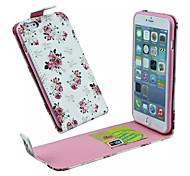 patrón de flores tirón hacia arriba y abajo de cuero de la PU y la ranura para tarjetas funda del teléfono celular para el iphone 6