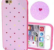 2-in-1 Bling Bling Pink Coloful Heart Pattern PC Back Cover with PC Bumper Shockproof Hard Case for iPhone 6