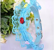 Chat / Chien Colliers Etanche / Ajustable/Réglable Bleu Cuir PU / Textile