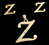 letra z moda europea y americana a las letras colgante y oído espárragos set (sin collar)